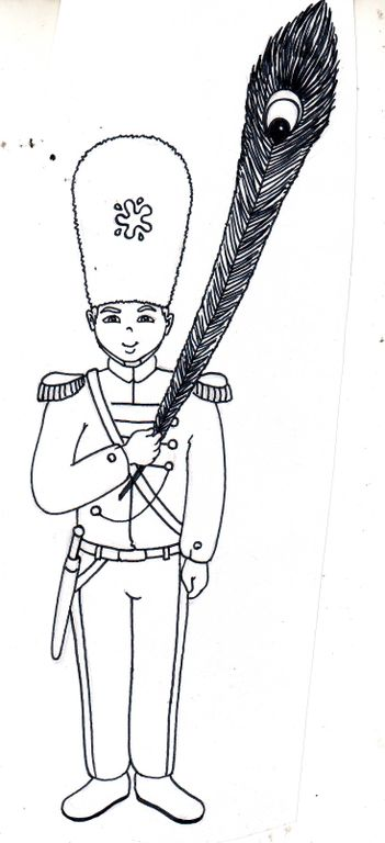 Circus town guard with feather