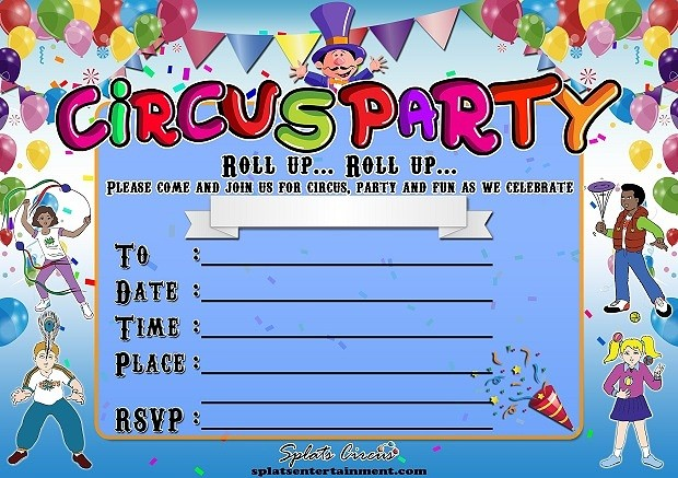 Circus Skills Party Invite (thumbnail)