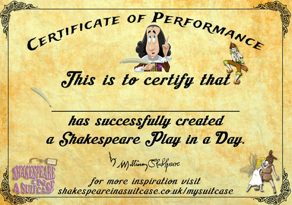 Shakespeare Certificate of Performance